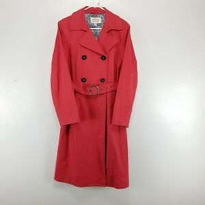 Talbots Size 10 Coral Trench Rain Coat Belted